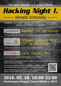 HackerSpace Szeged Hacking Night I. plakát